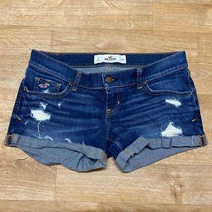 Hollister cuffed dark blue jean shorts Sz 3 w26